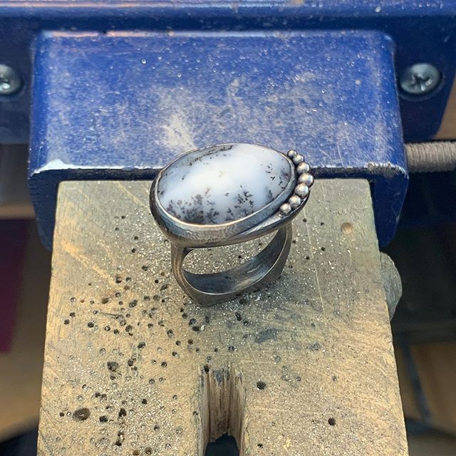 Was looking at some photos and realized I started this ring a long, long time ago, so I thought I better finish it! #sterling #dendritic #opal #denvermade #laurakieferdesigns