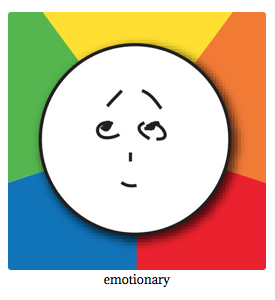 Emotionary guides users through five primary emotions to find the right category of feeling, with all definitions pared back to the essentials and displayed so they can be easily compared.