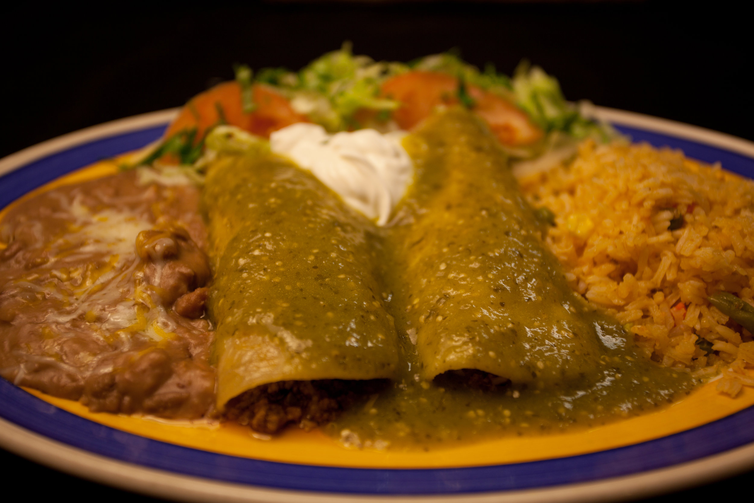 Enchilada Verde - The Verde / Green salsa Enchilada Lunch or Dinner is on special.