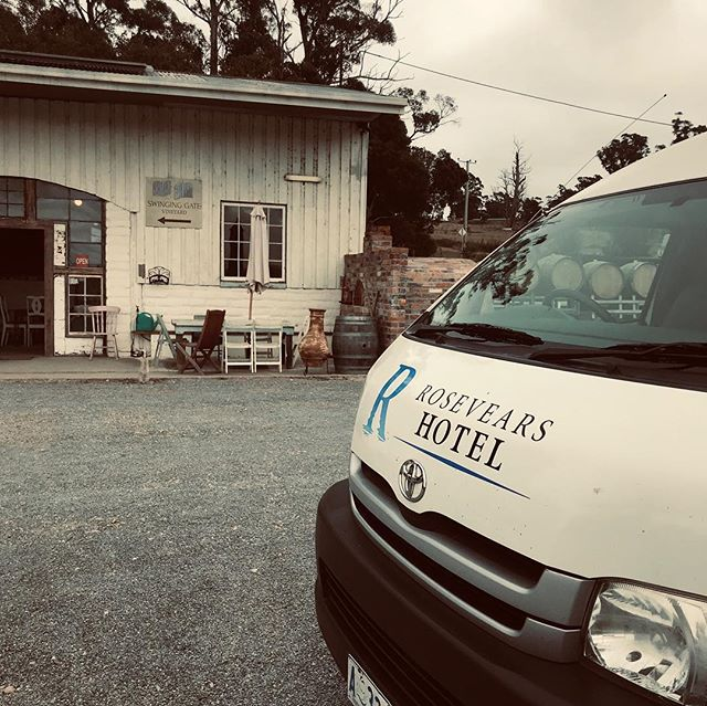 Rosevears Hotel guests out with @tamartours today on the @tamarvalleywineroute 🏞🍷 . . Enjoying outstanding wine + service at @swinginggatewines. Thanks to Doug and Nellie for their hospitality 🐶🍷 . . For more information on touring the tamar with us: 📞6394 4074 📬info@rosevearshotel.com.au . . . .#TamarValley #Tasmania #tamartours #wine #rosevearshotel #australia #seeaustralia #travel #tour #winetour #discovertasmania  #redwine #tourist #sparklingwine #winetasting #vineyardvines #explore #vacation
