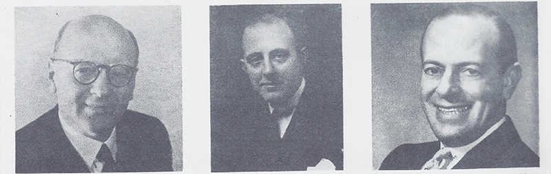 When company founder Friedrich Gretsch died suddenly in 1895, his fifteen-year-old son Fred Gretsch Sr. (shown as an adult above left) took over the business. Over the next four-plus decades he built the company into America's largest musical instrument manufacturer. Upon their father's retirement in 1942, sons Fred Jr. and William directed the company. William (above, center) was president from 1942 until his passing in 1948. Fred Jr. (above right) presided from 1948 until Gretsch was sold to the Baldwin Piano Company in 1967.