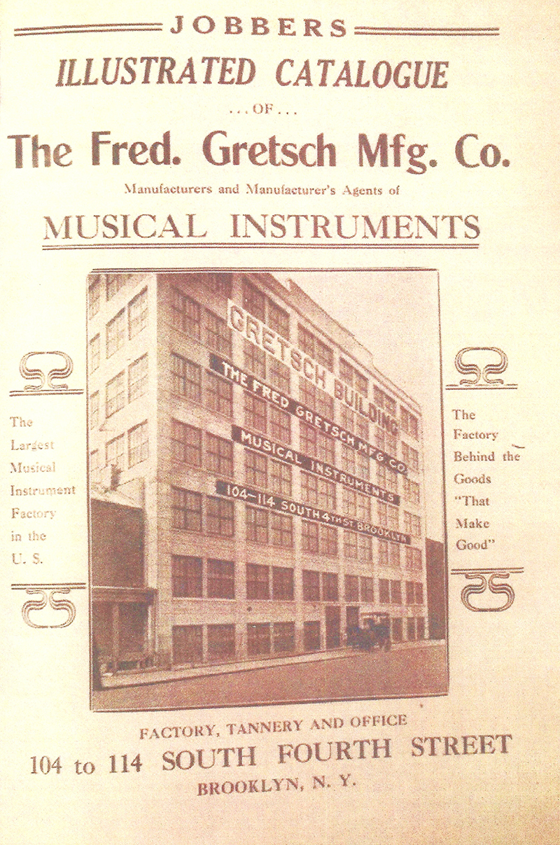 """The first stop on the tour was Gretsch Building #2 at 104 to 114 South Fourth Street. Built around 1895, by the time it was illustrated on the cover of the 1912-1913 catalog (shown here) it was touted as """"The largest musical instrument factory in the U.S."""""""