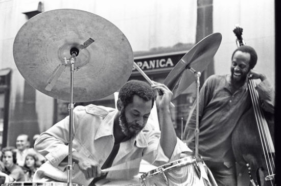 Ben Riley with bassist Percy Heath in New York City, 1977 (photo by Tom Marcello)