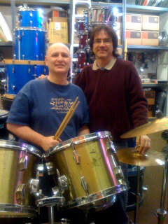 PaRumPaPumPum Charity places one of well known New Orleans drummer Harry Ravain's drum sets with deserving drummer Ken Stewart. -