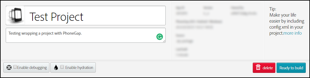 After filling out the project title and description, press the  Ready to build  button