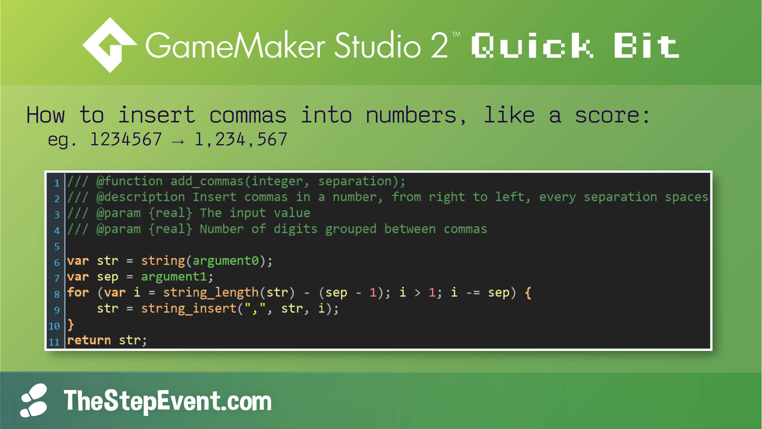 How to insert commas into numbers, like a score.
