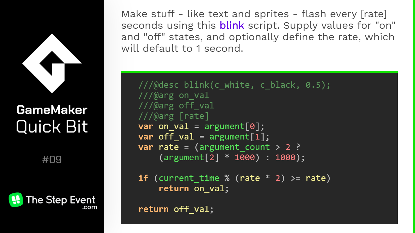 Make stuff - like text and sprites - flash every [rate] seconds using this blinking script.