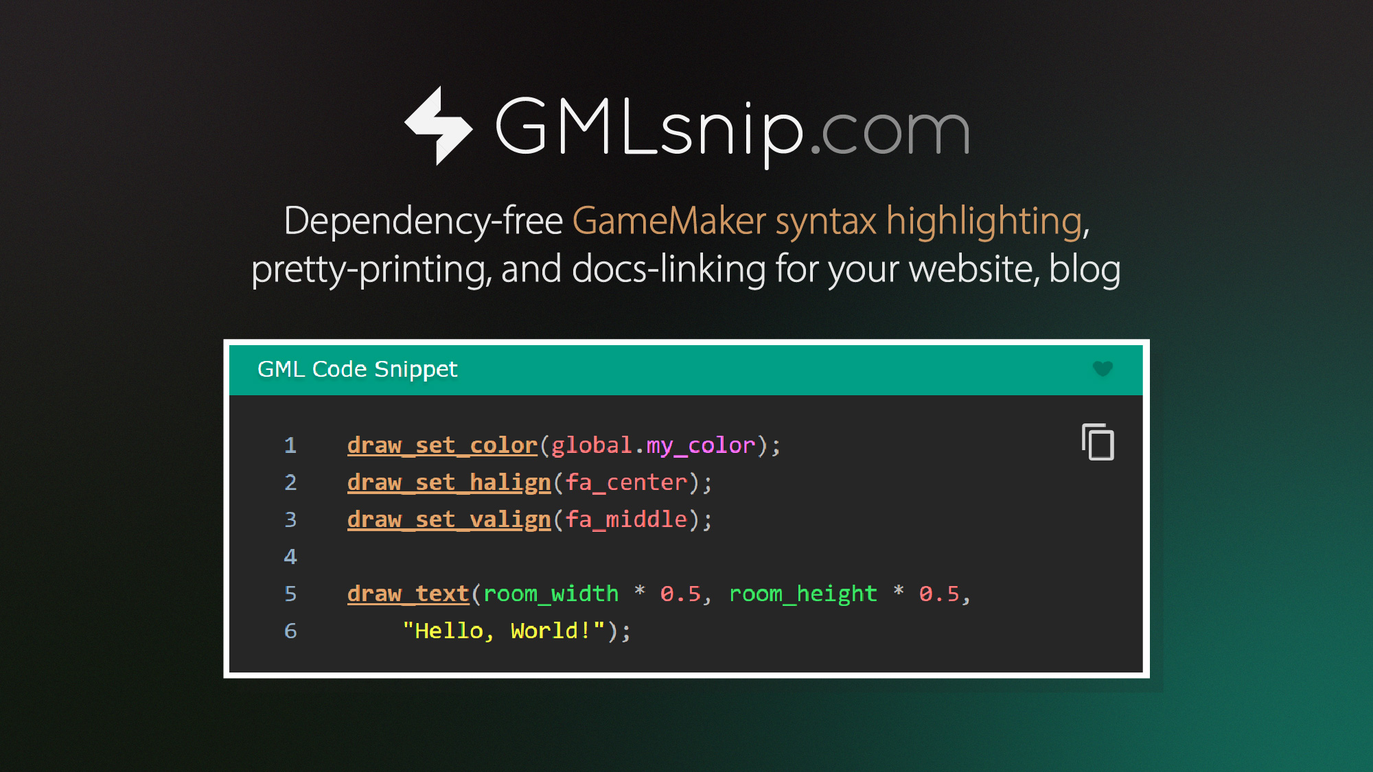 Dependency-free GameMaker syntax highlighting, pretty-printing, and docs-linking for your website, blog.