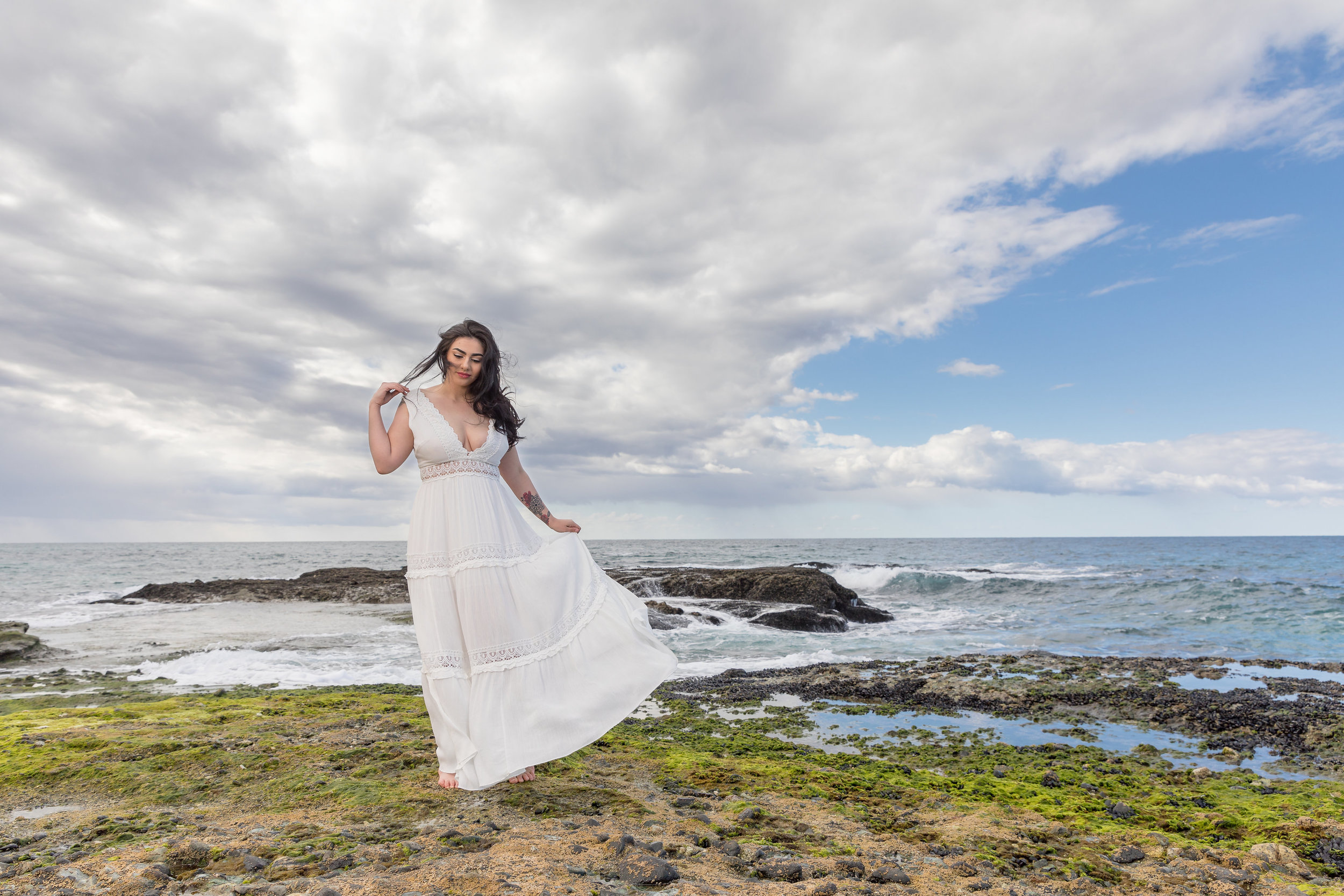Woman in Long Beach Dress on the Beach for Engagement Portrait.jpg
