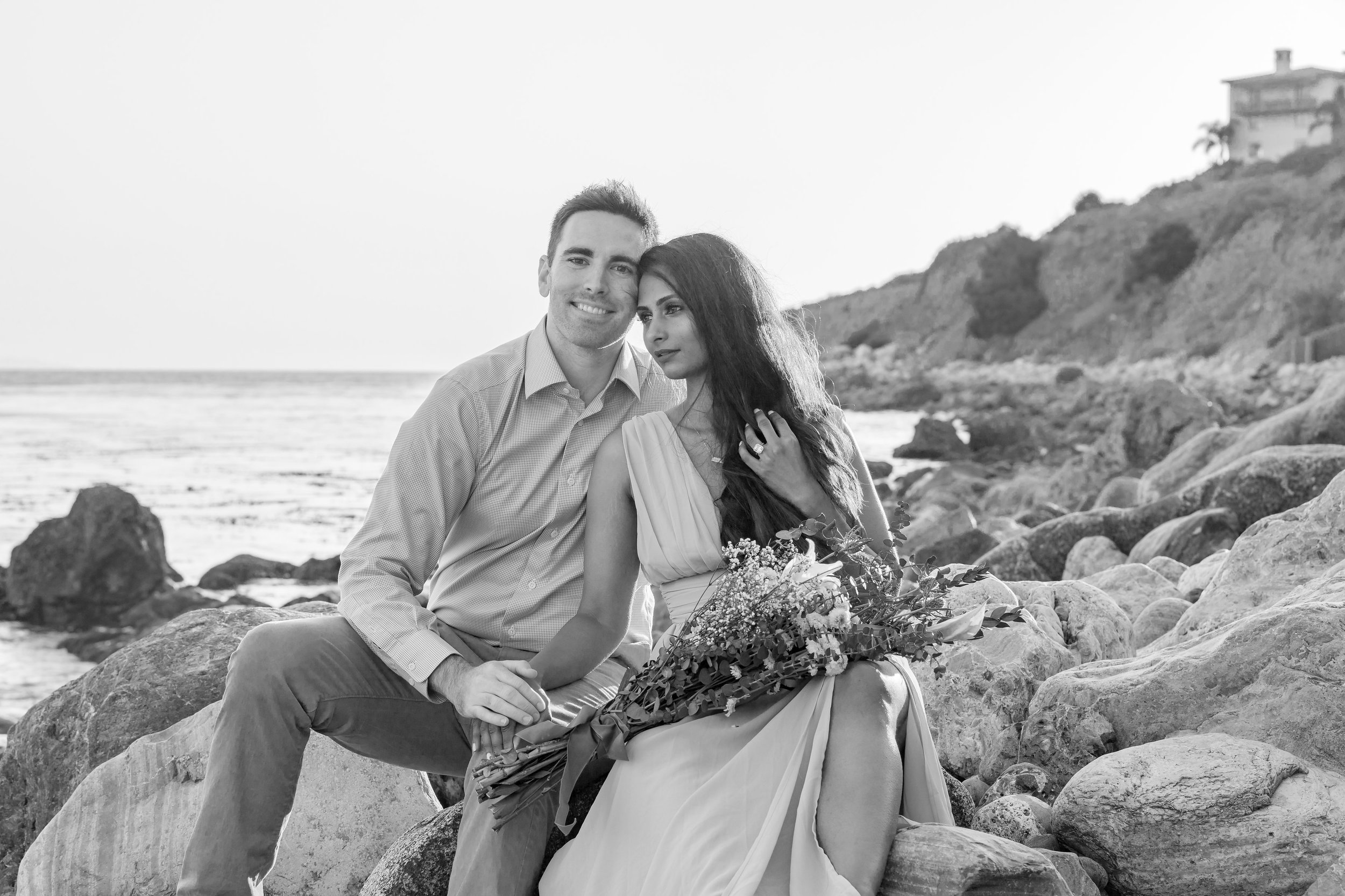 Black & White Beach Engagement with Flowers at Terranea.jpg