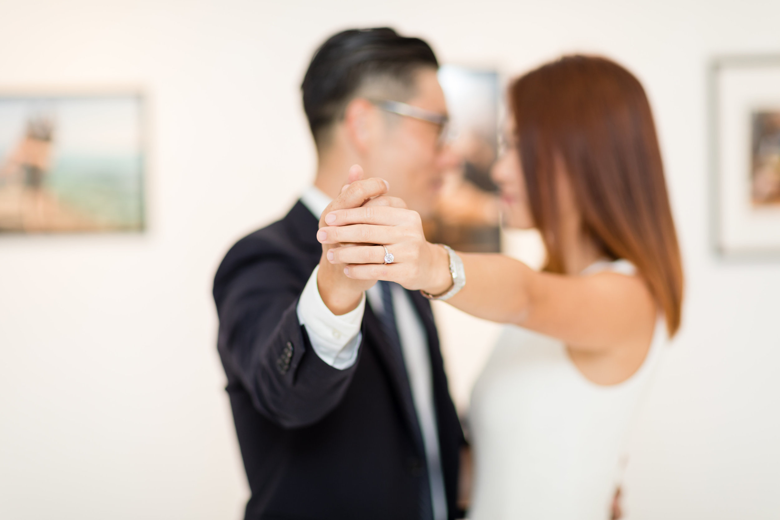 LA Engagement Photo Session in Art Gallery with Beautiful Ring.jpg