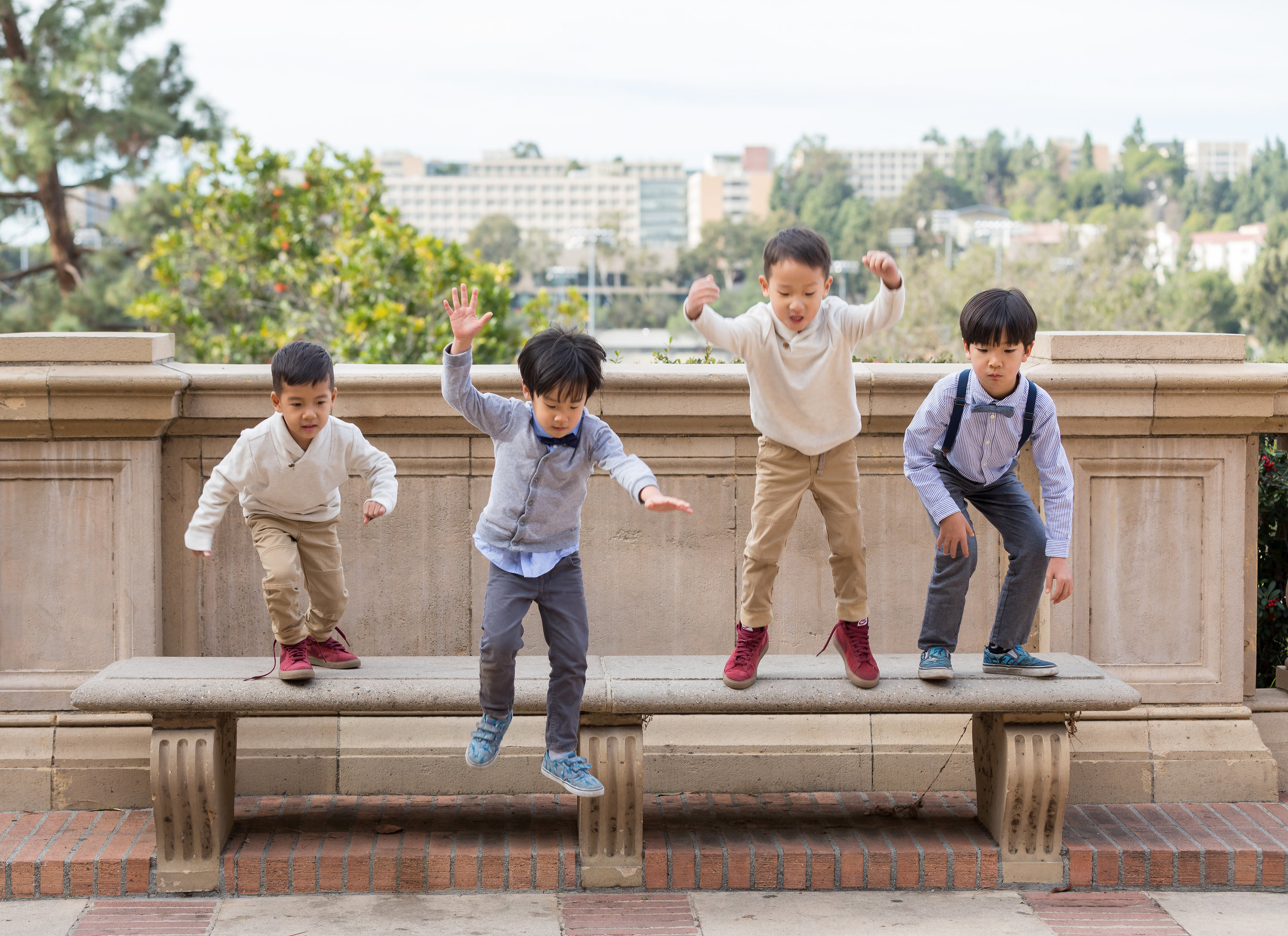 Boys playing at UCLA family portrait session.jpg