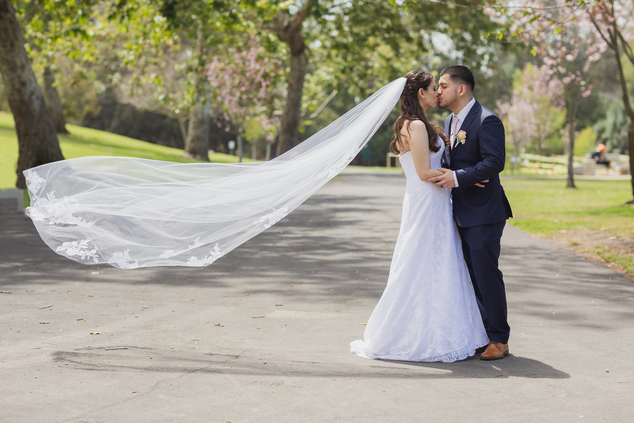 Bride and groom kissing with veil blowing in the wind.jpg