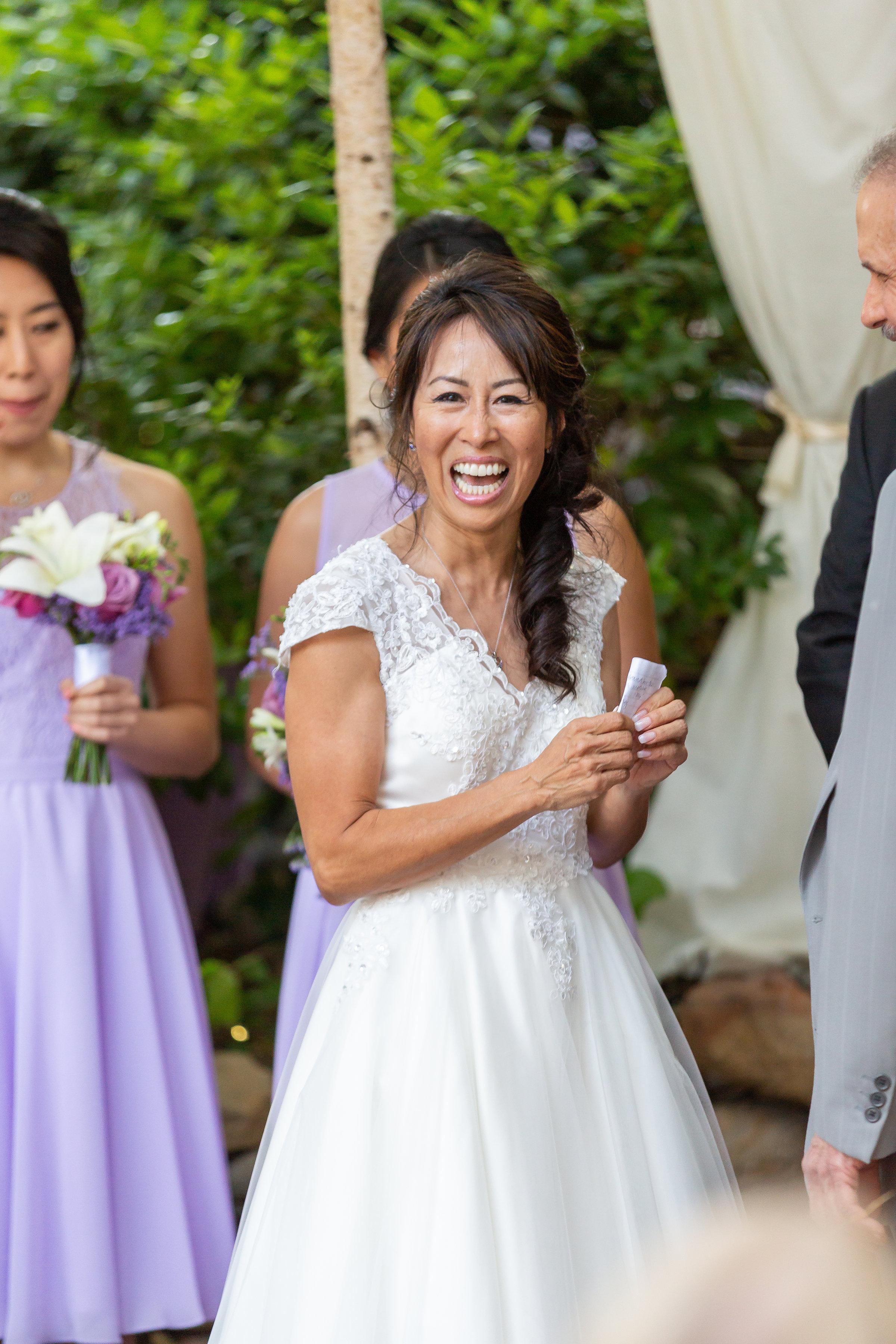 Happy Bride at Topanga Wedding Ceremony