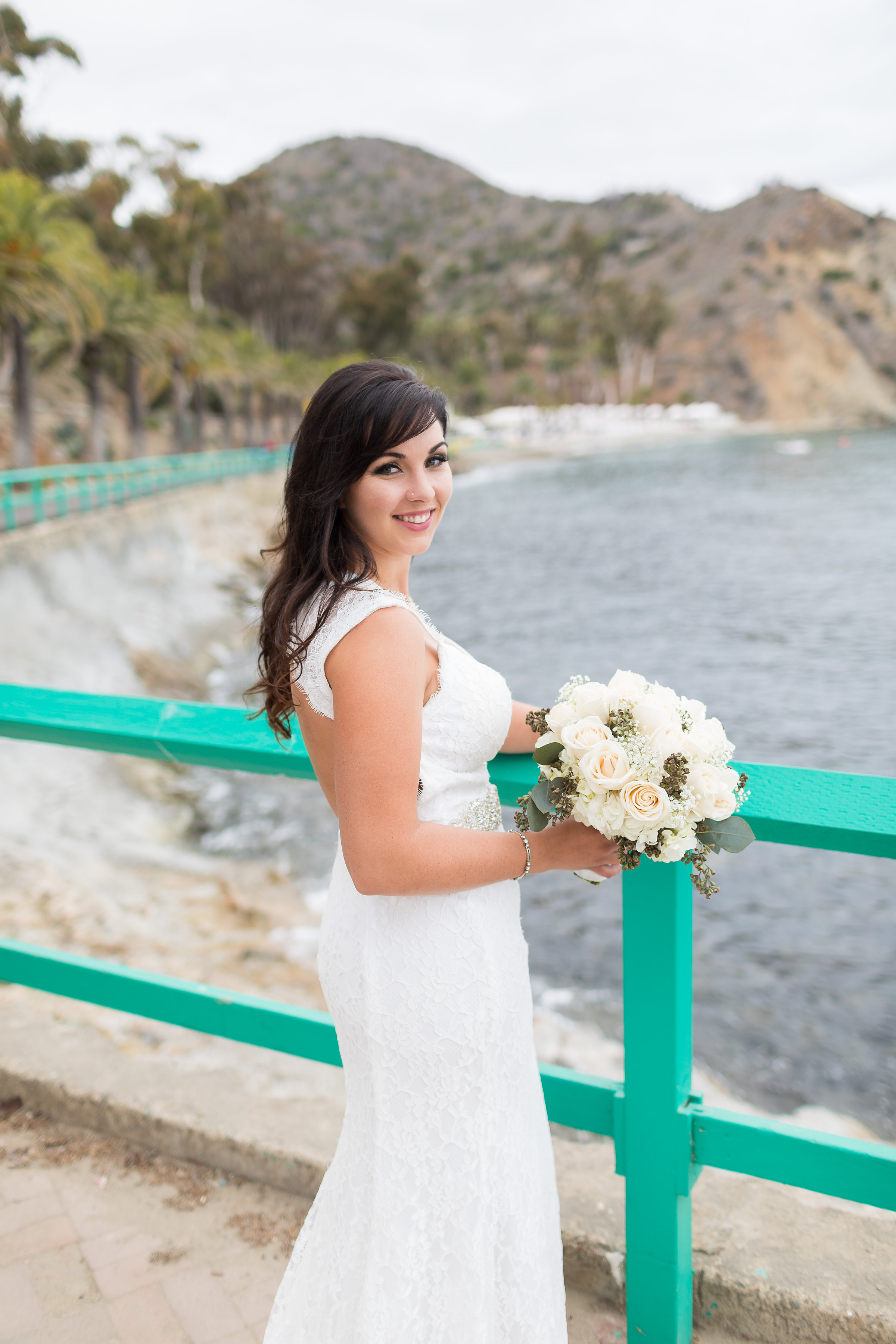 Photo of Bride and Bouquet at the water's edge in Catalina.jpg