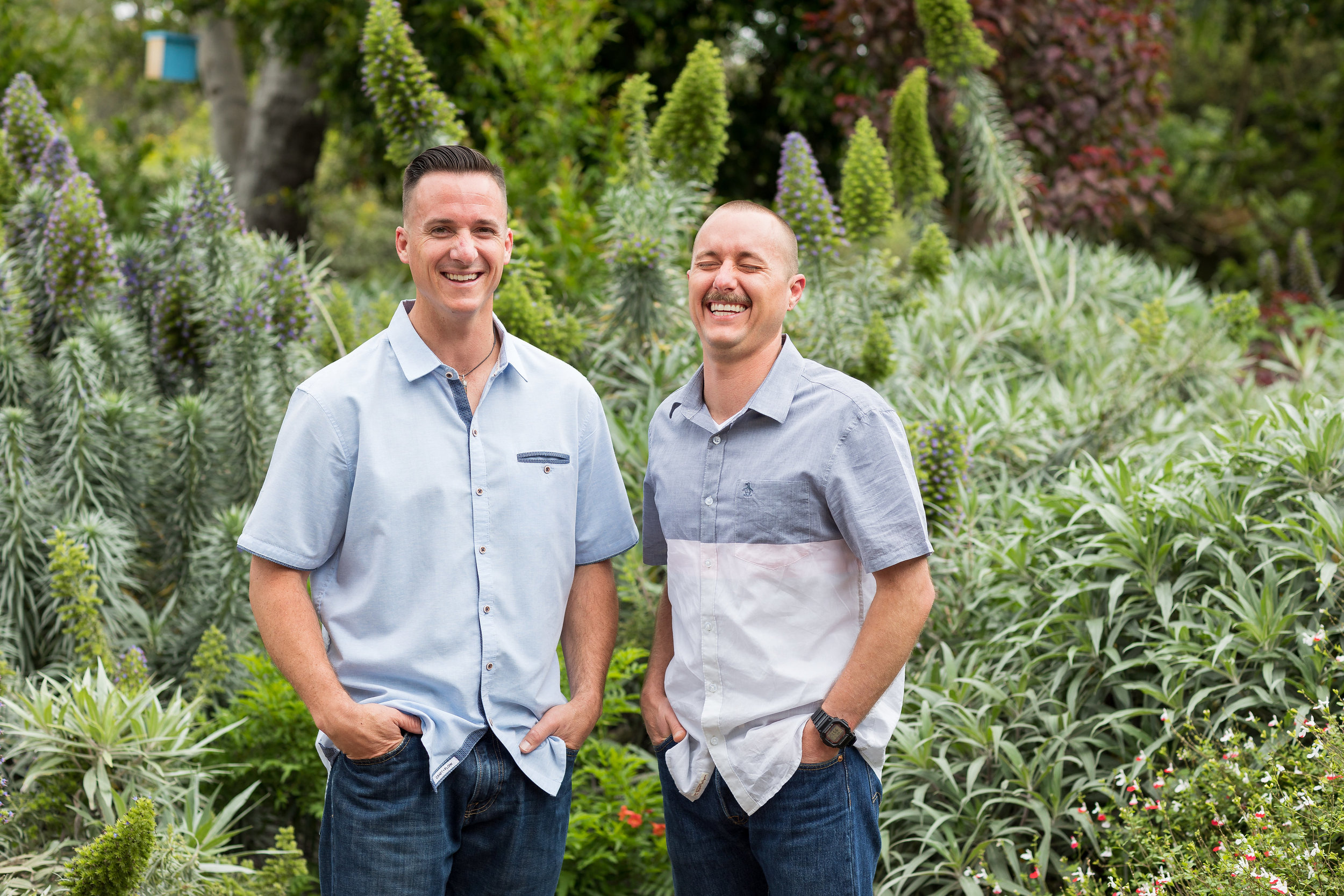 HB family photo of adult brothers in garden.jpg