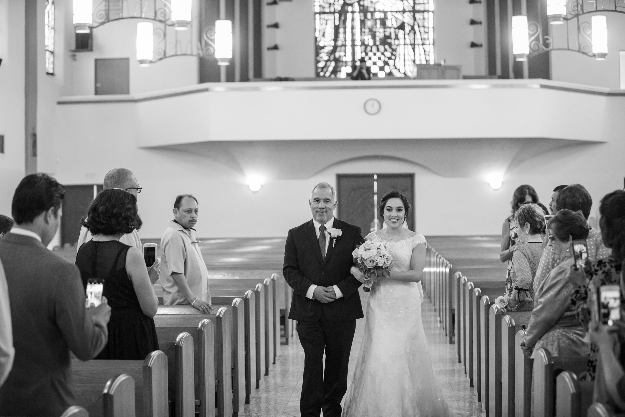 ! Bridal Entrance to Catholic Church Ceremony with Father.jpg