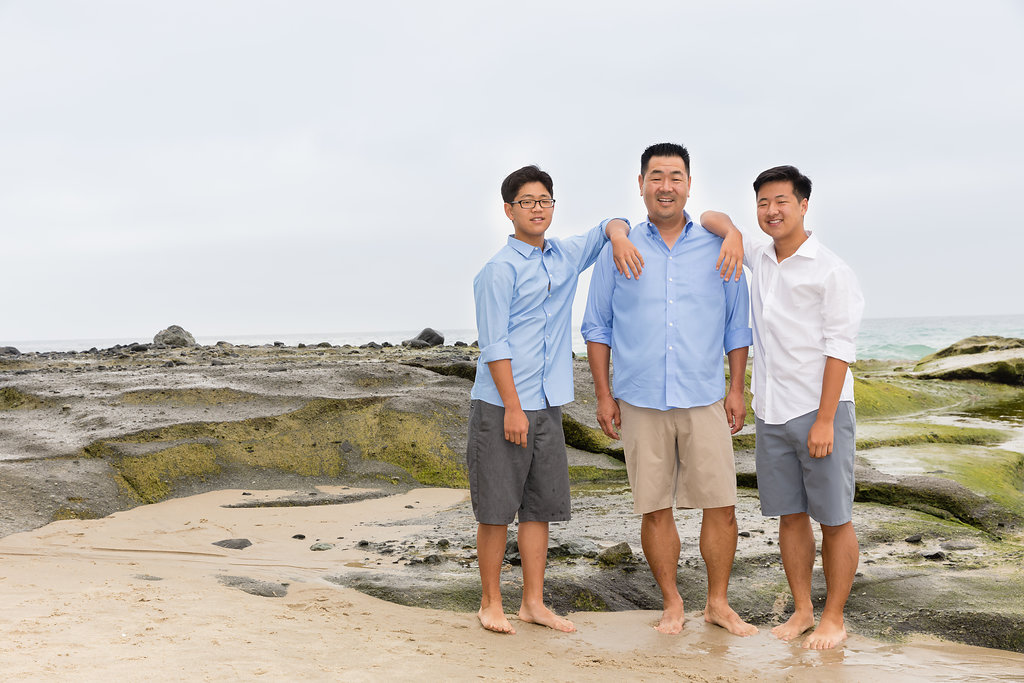 Father with Teenage Sons in blues at Aliso Beach Photo Session.jpg
