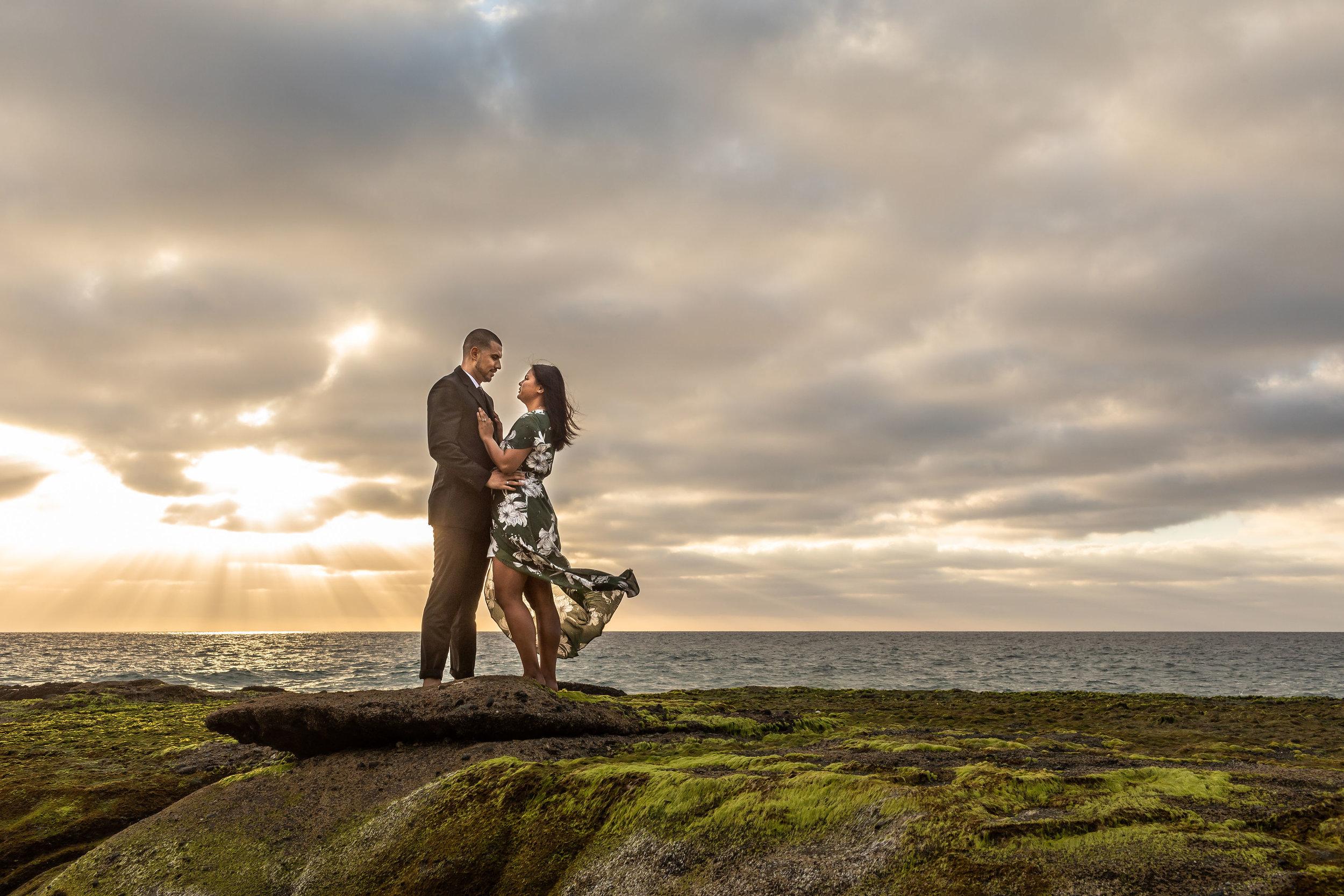 ! Dramatic Artistic Engagement Photo on a Rocky Beach.jpg