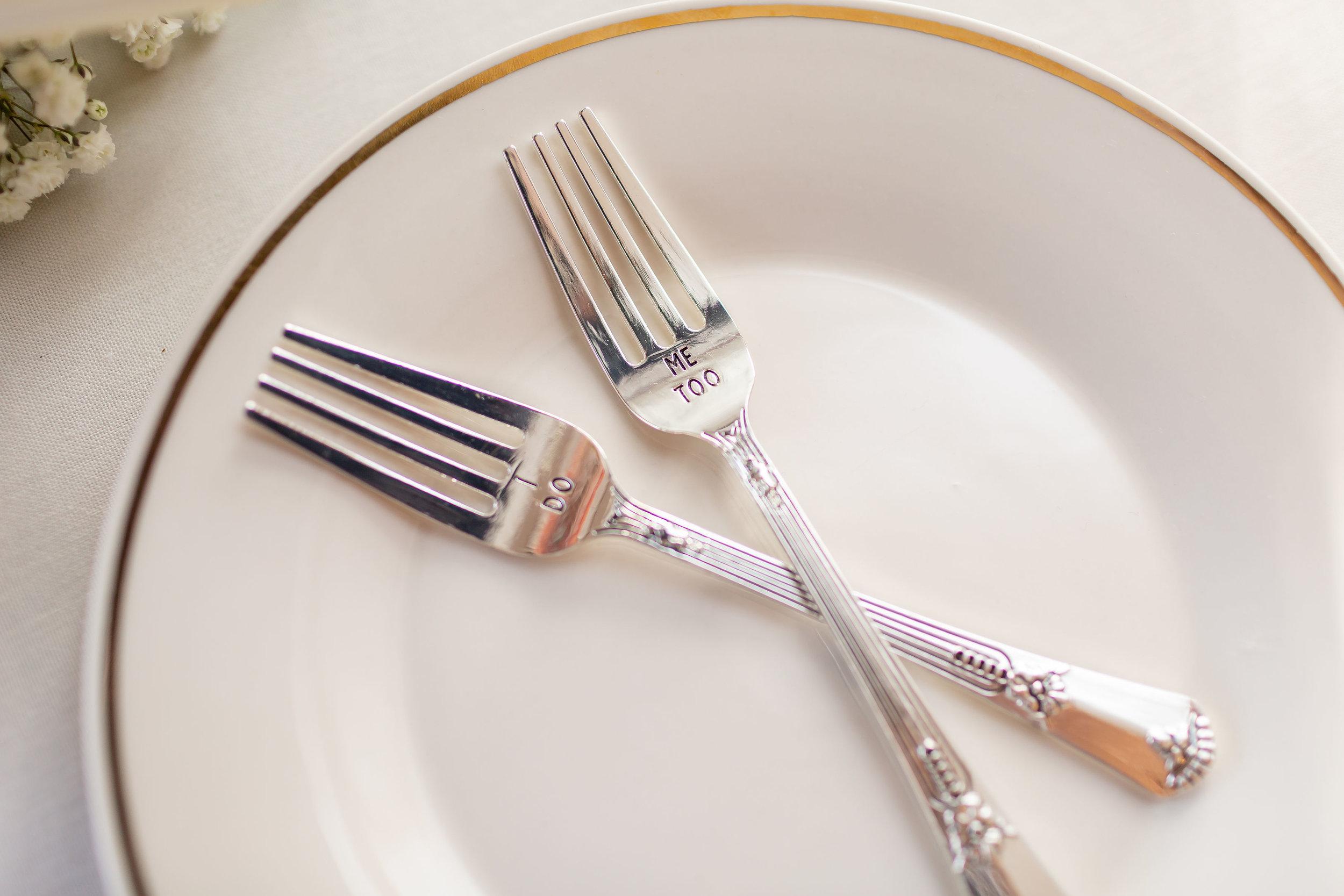 ! Detail Shot of Monogram Forks for Cake Cutting at Wedding Reception.jpg