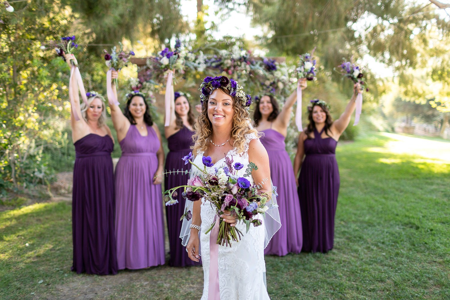 Bride + Bridesmaids in Hues of Purple.jpg