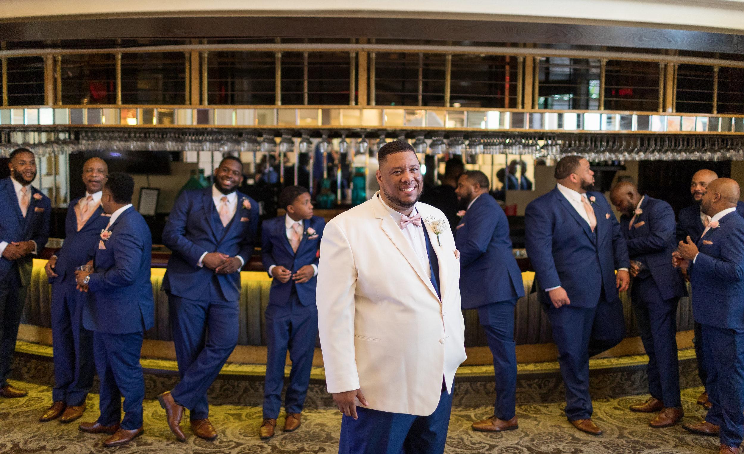 ! Groom in White Tux + Groomsmen in Blue Suits.jpg