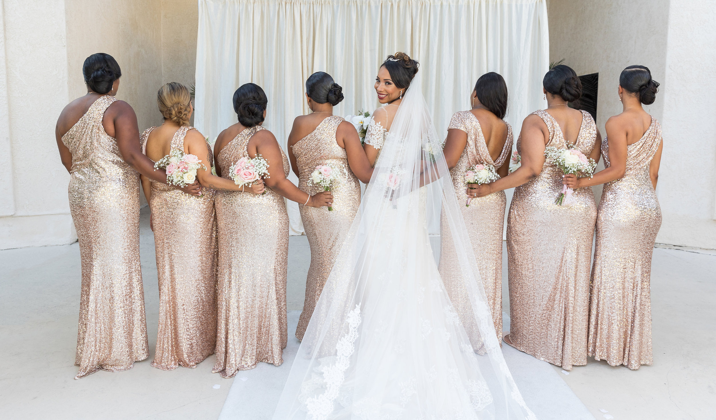 ! Bride + Bridesmaids in shimmery gold dresses.jpg
