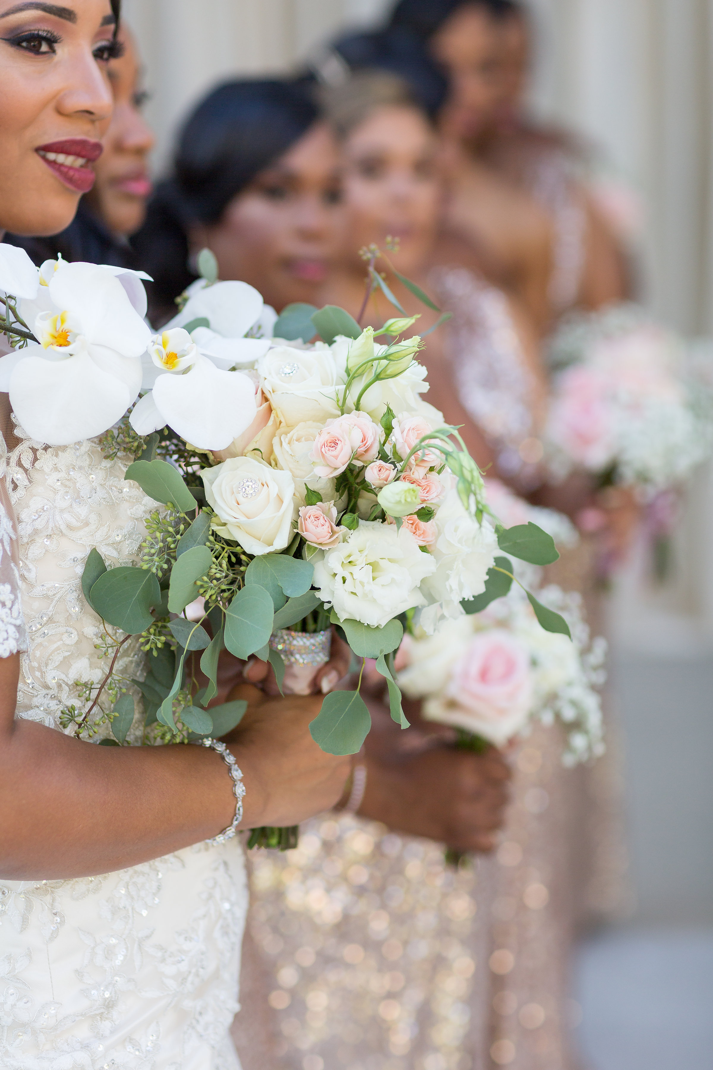 ! Artistic Wedding Ceremony Photography of Bride and Bridesmaids with Bouquets.jpg