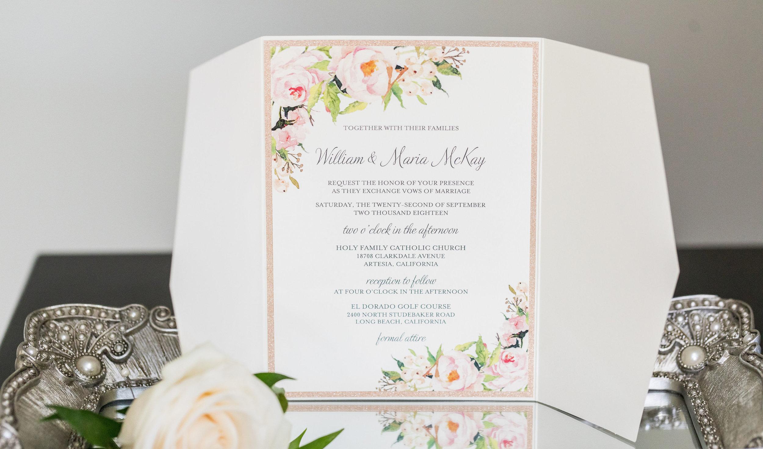 ! Beautiful photo of wedding invitation on tray mirror with boutennier.jpg