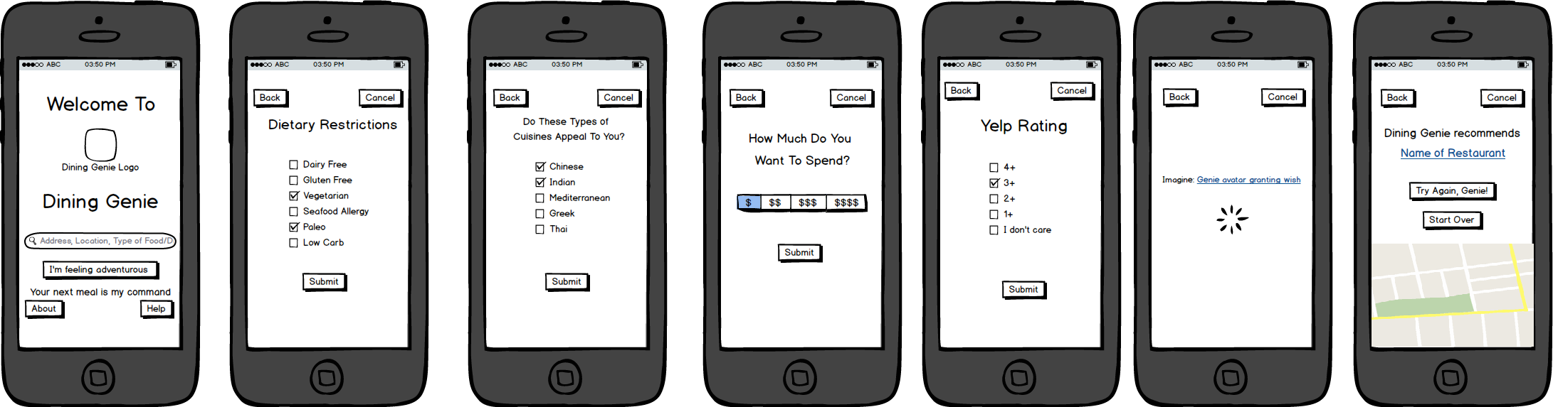 Lo-Fi mockups of Dining Genie made in Balsamiq