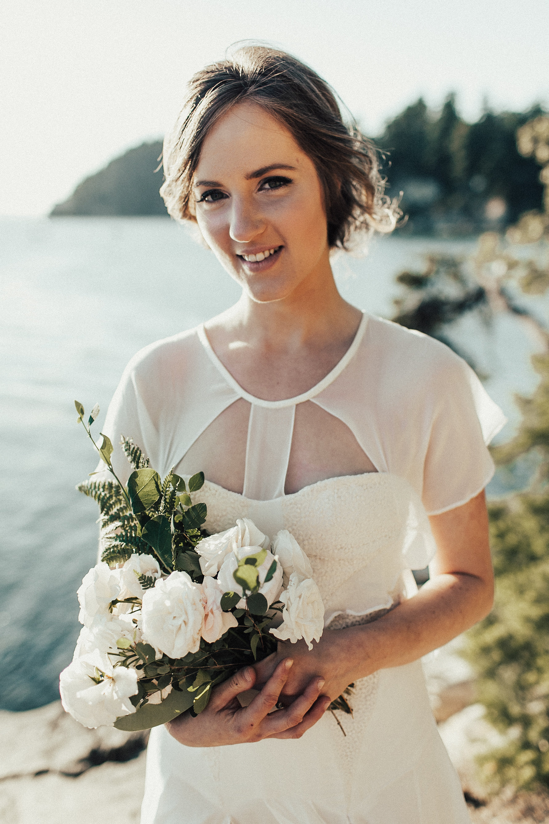 bride with bouquet at Larabee State Park