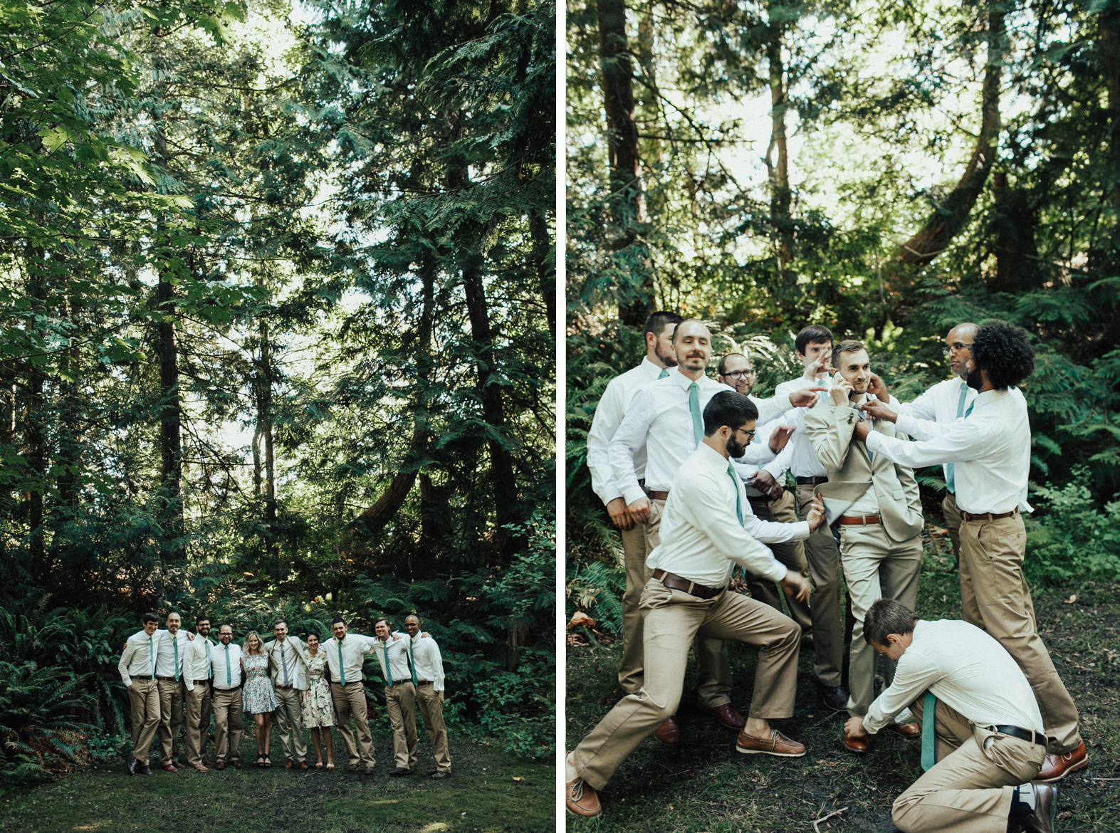 bridal party goofs around in Bellingham WA