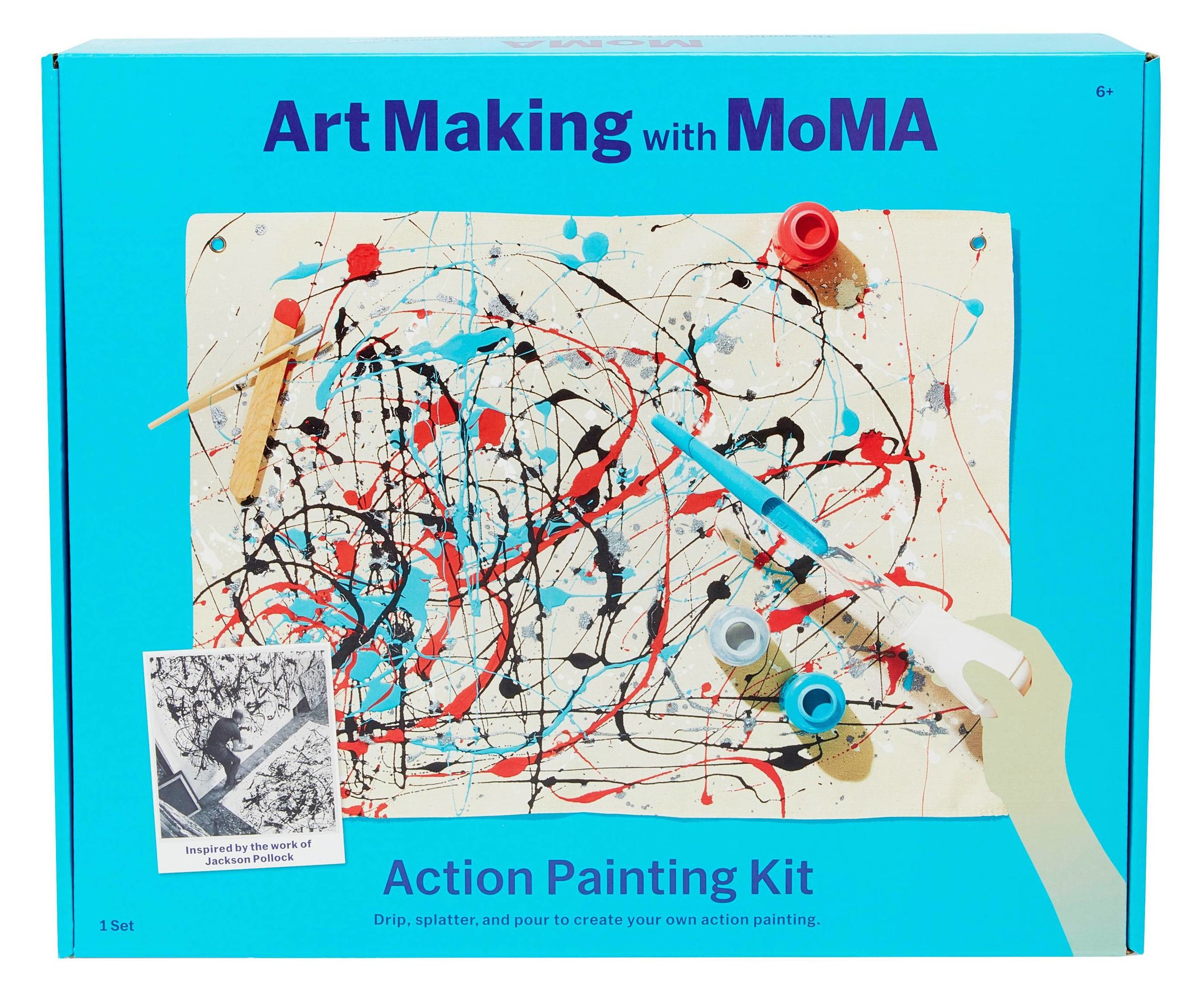 For the kids! (Or for anyone.) Grab this ultra fun  Art Making with MoMA Action Painting Kit  and embrace your inner Pollock.