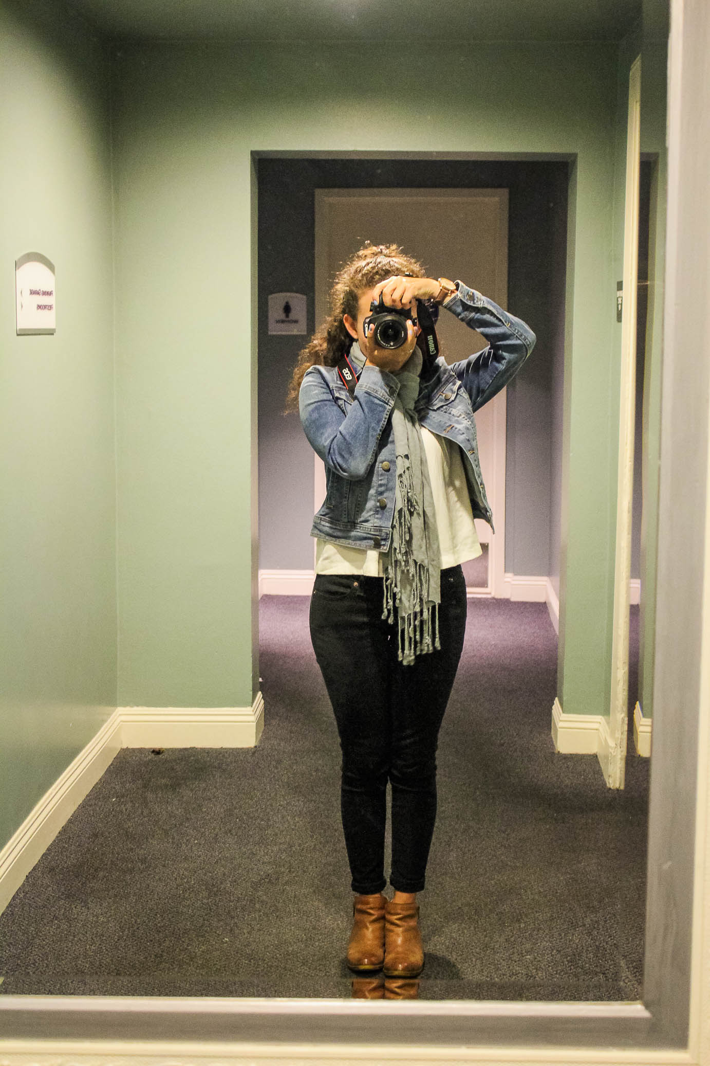 My #capsulesinthewild outfit for the night: Levi's blouse and skinnies, Lucky ankle boots, (new!) Old Navy denim jacket.