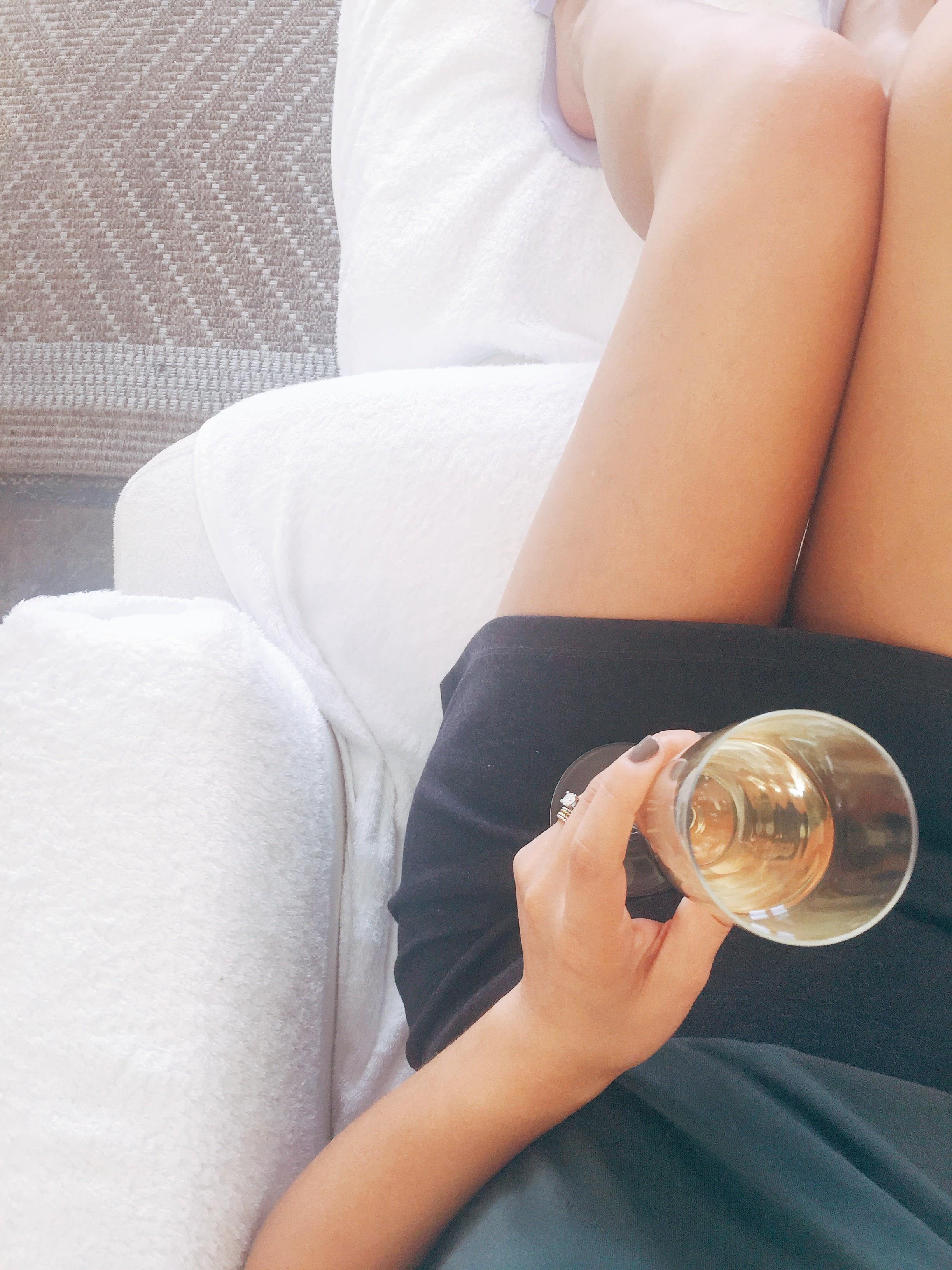 Champagne and a mani pedi.