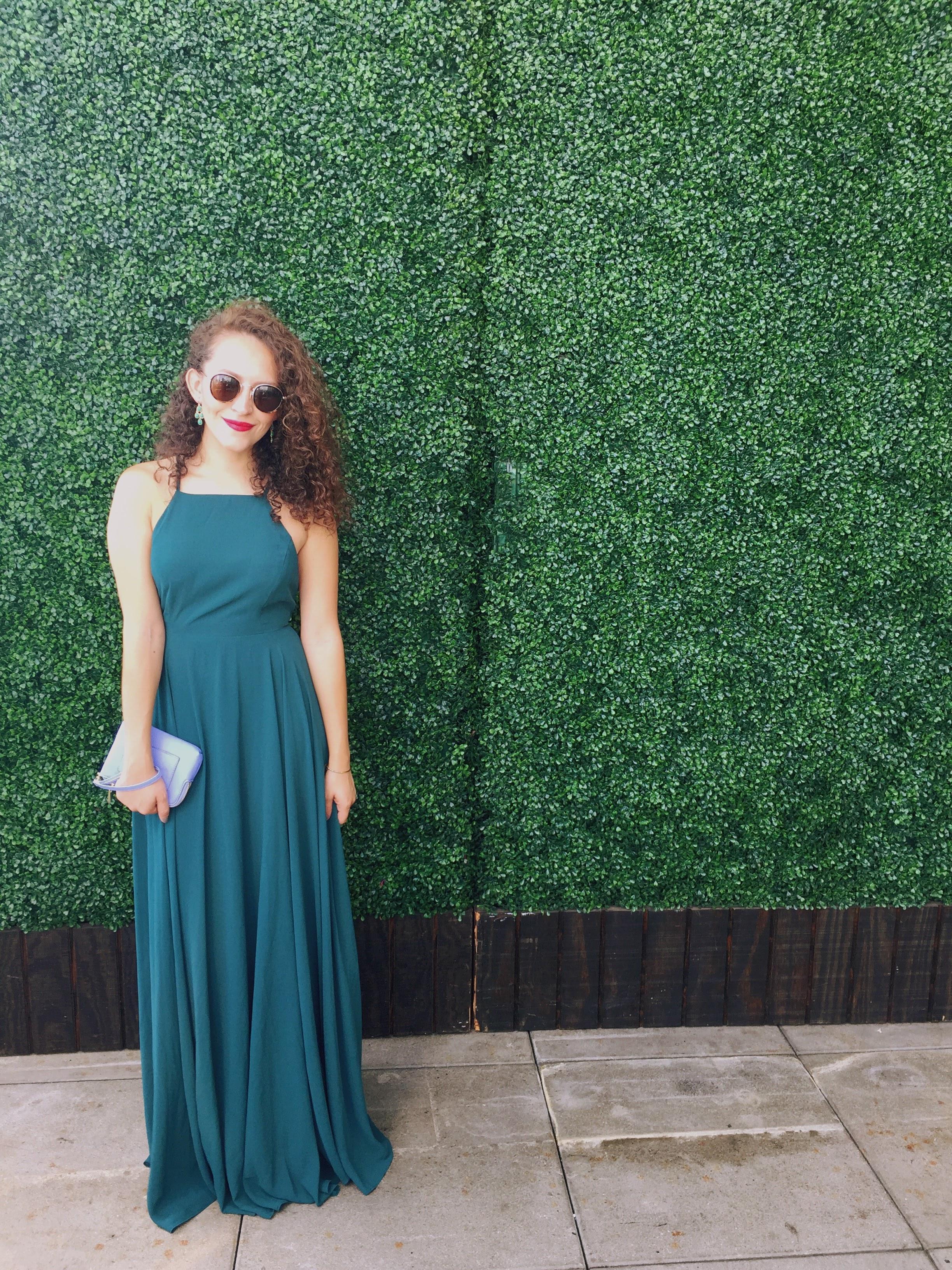 Floor length deep emerald green dress / formal wedding guest outfit