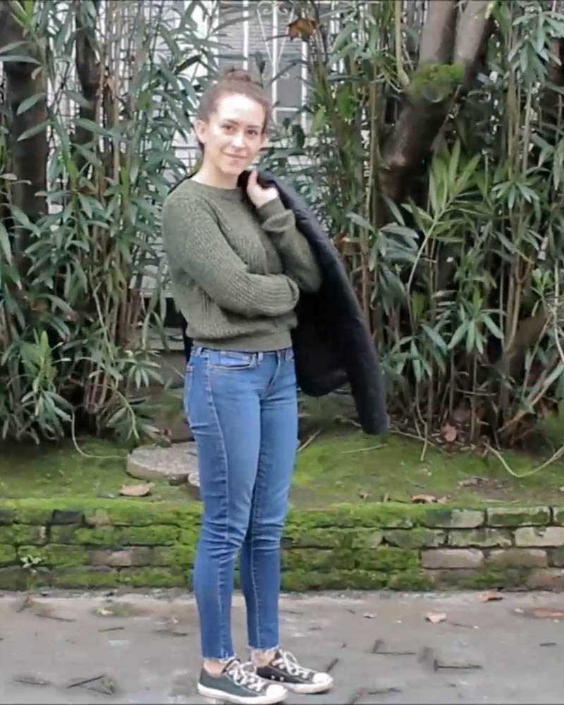 winter capsule wardrobe outfit for a casual weekend   sweater and raw hem levis jeans and converse   tintedgreen