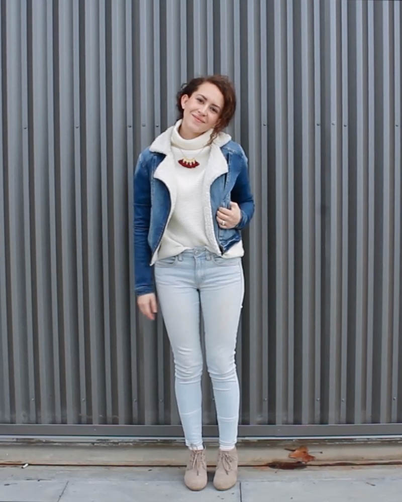 winter capsule wardrobe outfit   madewell mockneck sweater and skinny jeans   tintedgreen