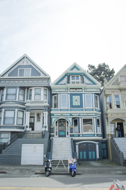 Houses of San Francisco in the Haight-Ashbury neighborhood || tinted green