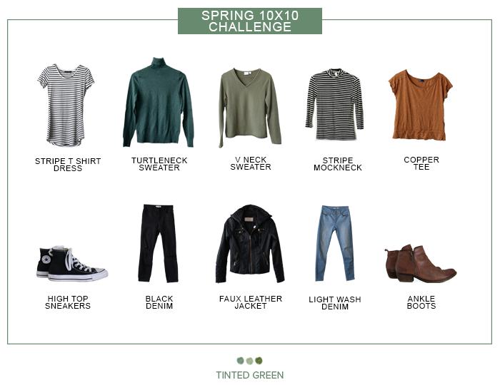 Spring 10x10 challenge / capsule wardrobe challenge / tintedgreen