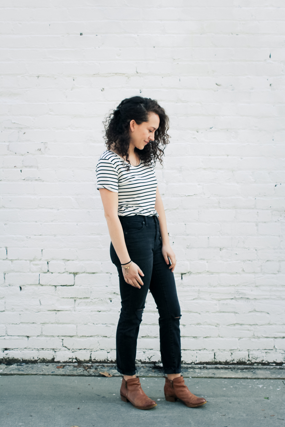 My outfit made up of stripes, black high rise Madwell jeans and ankle boots for Day 5 of the Style Bee Spring 10x10/Unfancy Remix challenge. simple, classic, causal style brought to you from my spring capsule wardrobe! | tintedgreen
