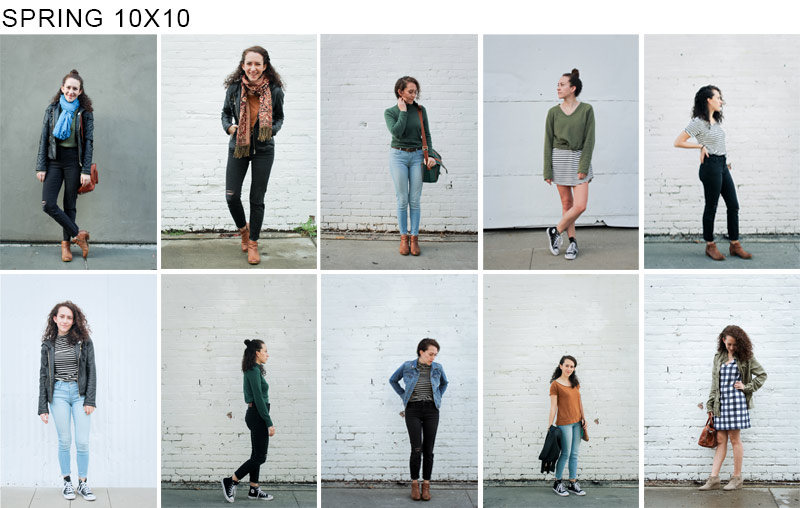 My Spring 10x10 outfits, cheats and all lol / all outfits were created with pieces from my spring capsule wardrobe | tintedgreen