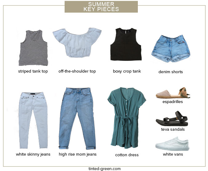 the 10 key pieces for my summer capsule wardrobe / a striped tank top, off the shoulder top, boxy crop tank, vintage denim shorts, white skinny jeans, madewell mom jeans, a striped t shirt dress, espadrilles, teva sandals, and white vans sneakers