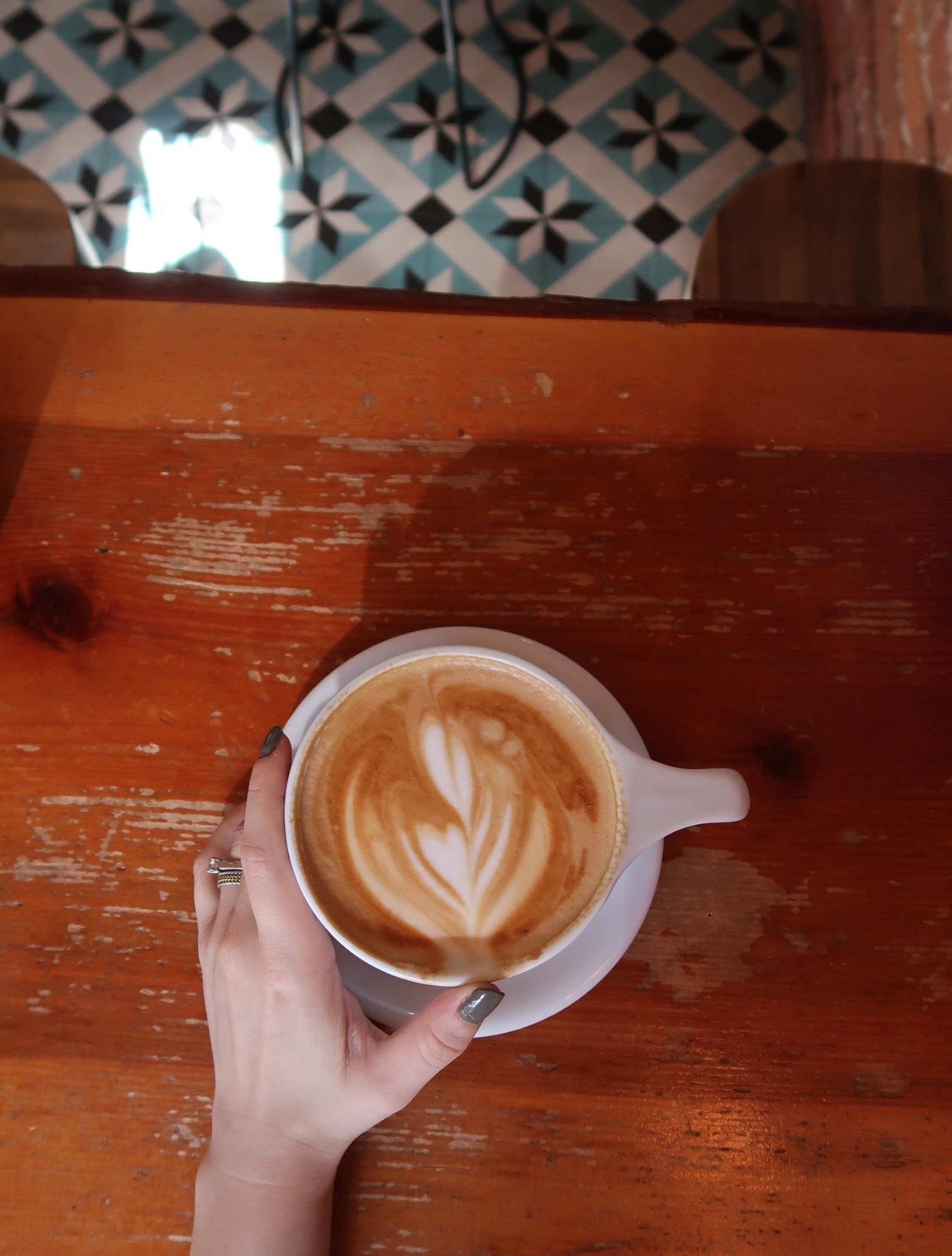 latte art at dripp coffee shop in fullerton, ca