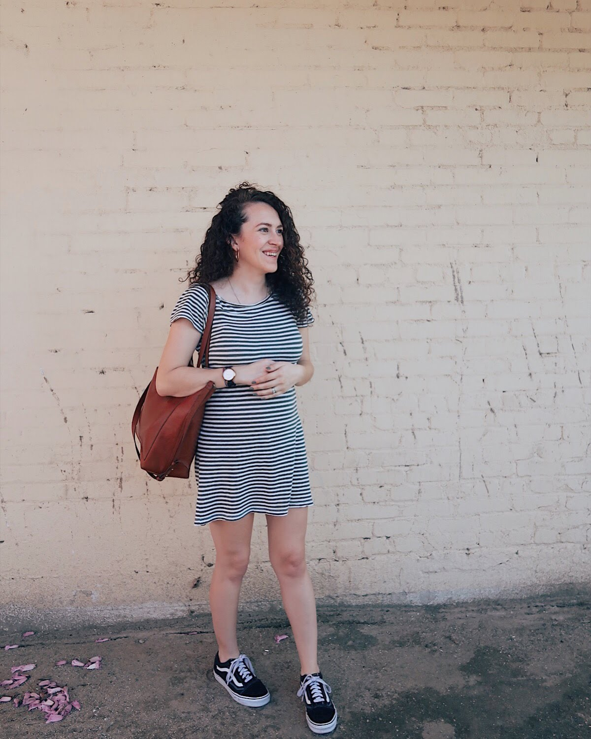 simple style: a striped t shirt dress with vans and a good bag is easy for travel and comfortable enough for a baby bump