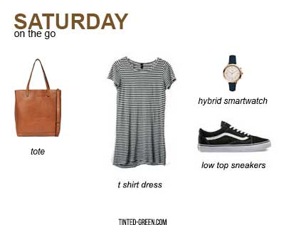 how to wear vans aka an easy weekend outfit: a stripe t shirt dress, low top old skool vans sneakers, and a good carryall bag like this one from madewell