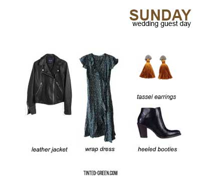 a spring, summer, or fall wedding guest outfit -- a midi wrap dress with heeled booties, a leather jacket and statement tassel earrings