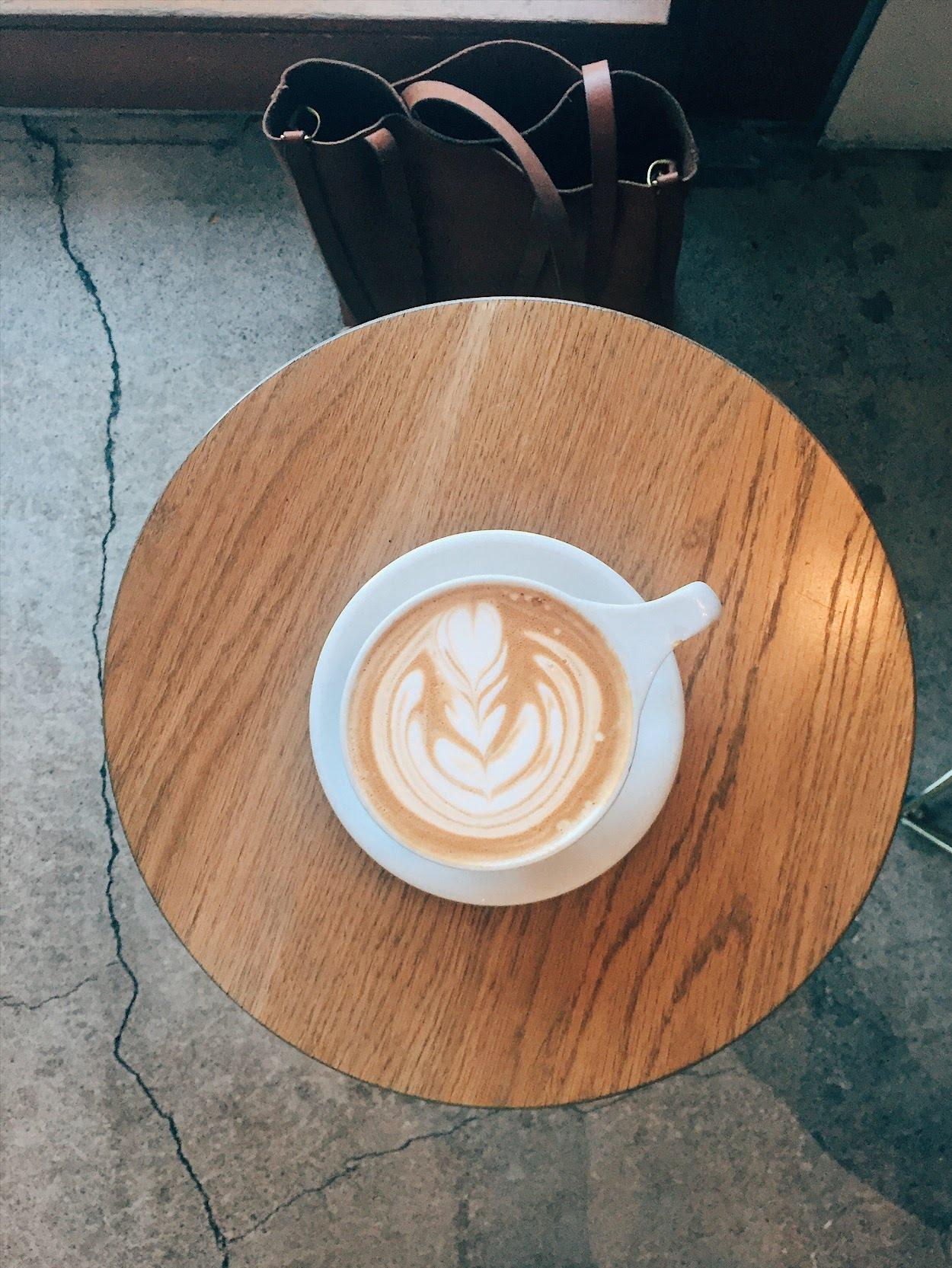 latte art at kit coffee in newport beach, california