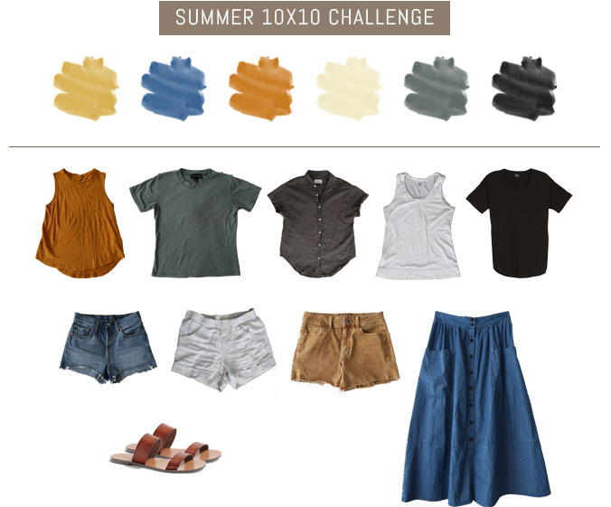 10 pieces 10 outfits summer, 10 items 10 ways summer, capsule wardrobe, nursing friendly outfits