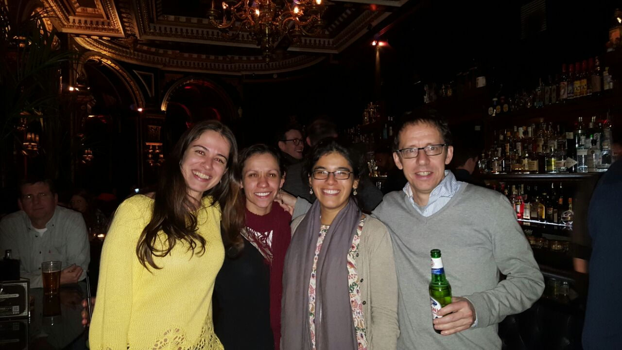 Karina's PhD viva celebration (with current PhD student Flávia Pezzini [Brazil; left] and ex-PhD student Euridice Honorio [Peru; right]